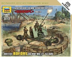 Zvezda British Bofors 40mm Mk 2 AA Gun (Snap) Plastic Model Artillery Kit 1/72 Scale #6170