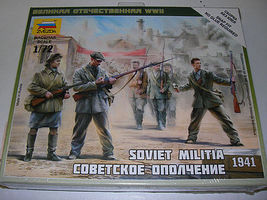 Zvezda Soviet Militia 1941 Plastic Model Military Figure Kit 1/72 Scale #6181