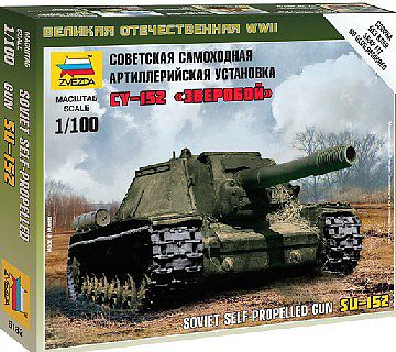 Zvezda Soviet Self-Propelled Gun SU-152 -- Plastic Model Military Vehicle Kit -- 1/100 Scale -- #6182