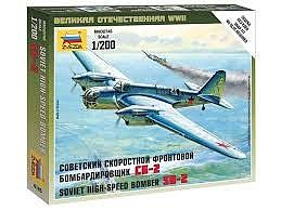 Zvezda Soviet Bomber SB-2 -- Plastic Model Airplane Kit -- 1/200 Scale -- #6185