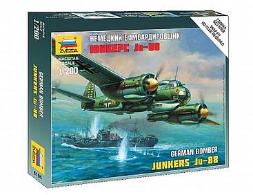 Zvezda Ju-88A4 Plastic Model Airplane Kit 1/200 Scale #6186