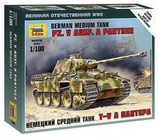 Zvezda German Pz V Ausf A Panther Plastic Model Military Vehicle Kit 1/100 Scale #6196