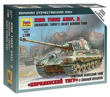 Zvezda German King Tiger Aisf B Plastic Model Military Vehicle Kit 1/100 Scale #6204