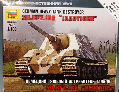 Zvezda SdKfz 186 Jagdtiger Heavy Tank Plastic Model Military Vehicle Kit 1/100 Scale #6206