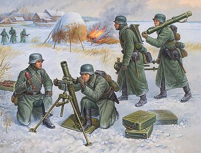 Zvezda German 80mm Mortar w/Crew Winter Uniform (Snap) Plastic Model Military Figure 1/72 #6209