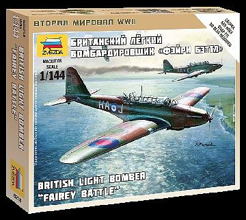 Zvezda British Light Bomber Fairey Battle -- 1/144 Scale Plastic Model Airplane -- #6218