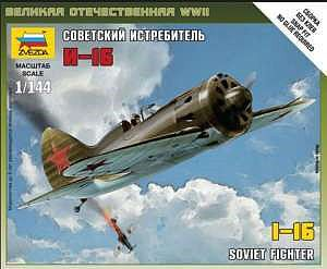 Zvezda Soviet WWII Fighter Polikarpov I-16 -- Plastic Model Airplane Kit -- 1/144 Scale -- #6254