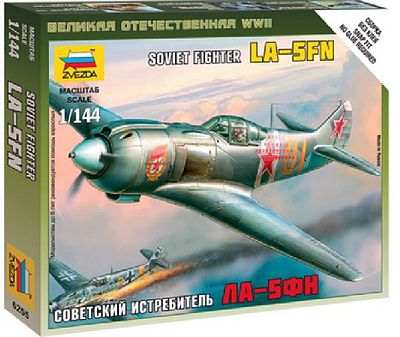 Zvezda La-5FN Soviet WWII Fighter -- Plastic Model Airplane Kit -- 1/144 Scale -- #6255