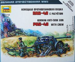 Zvezda German Anti Tank Gun Pak-40 w/Crew 1/72 Scale Plastic Model Military Diorama #6257
