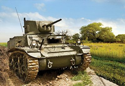 Zvezda US Stuart Tank (Snap) (New Tool) -- 1/100 Scale Plastic Model Military Vehicle -- #6265
