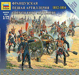 Zvezda French Foot Artillery Napoleonic Wars -- 1/72 Scale Plastic Model Military Figure -- #6810
