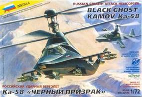 Zvezda Kamov Ka58 Black Ghost Russian Stealth Plastic Model Helicopter Kit 1/72 Scale #7232