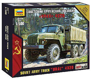 Zvezda Ural 4320 Russian Army Truck -- 1/100 Scale Plastic Model Military Vehicle -- #7417