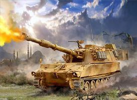 Zvezda US 155mm Self-Propelled M109A2 Howitzer Plastic Model Military Tank Kit 1/100 Scale #7422