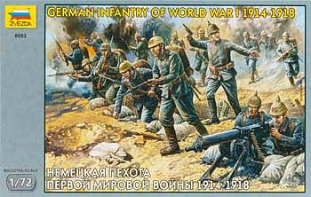 Zvezda German Infantry 1914-18 (41) Plastic Model Military Figure 1/72 Scale #8083