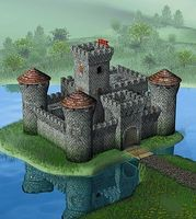 Zvezda Medieval Stone Castle w/Center Tower Plastic Model Military Diorama 1/72 Scale #8512