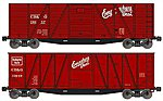 40' Wood Outside-Braced Boxcar Kit 1 Each 6 & 8 Panel, CB&Q -- HO Scale Freight Car -- #1210