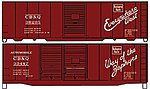 40' Steel Boxcar CB&Q (2) -- HO Scale Model Train Freight Car Kit -- #1223
