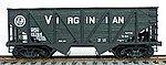 55-Ton Wood Side Twin Hopper - Virginian (black) -- HO Scale Model Train Freight Car -- #2707