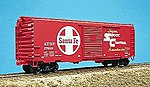 40' PS-1 Steel Boxcar Kit (Plastic) Santa Fe (Scarlet) -- HO Scale Model Train Freight Car -- #3401