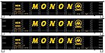 41' Steel Gondola Monon Set (3) Kit -- HO Scale Model Train Freight Car -- #37644