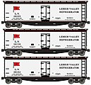 40' Wood Reefer Lehigh Valley -- HO Scale Model Train Freight Car Set -- #48494