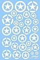 US Vehicle Stars in Circles (White Stencil) -- Plastic Model Vehicle Decal -- 1/35 Scale -- #35048w