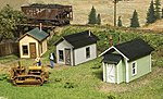 Miner's Cabin Kit pkg(3) -- HO Scale Model Railroad Building -- #722