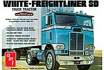 White Freightliner Single Drive Tractor -- Plastic Model Truck Kit -- 1/25 Scale -- #1004-06