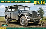 Kfz 16 Medium Personnel Carrier -- Plastic Model Military Staff Car -- 1/72 Scale -- #72259