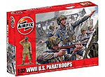 US PARETROOPERS WW-II -- Plastic Model Military Figure Set -- 1/32 Scale -- #02711