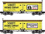 36' Wood Reefer Schott Brewing Company GARE -- HO Scale Model Train Freight Car -- #20002712
