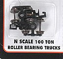 (bulk of 12) 100-Ton Roller Bearing Trucks w/Rapido Couplers -- N Scale Model Train Parts -- #22070
