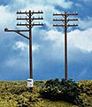 Telephone Poles (12) -- HO Scale Model Railroad Trackside Accessory -- #775