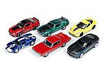 AutoWorld Diecast Set (6 Cars) -- Diecast Model Car -- 1/64 Scale -- #64003a