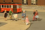 Scenescapes People Strolling (6 & Baby Coach) -- O Scale Model Railroad Figure -- #33159