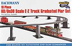 EZ Graduated Pier Set 18pc HO/On30 -- HO Scale Model Railroad Operating Accessory -- #44595