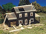 House Under Construction Snap Kit -- HO Scale Model Railroad Building -- #45191