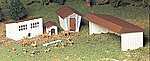 Farm Out-Buildings w/Animals Snap Kit (3) -- O Scale Model Railroad Building -- #45604