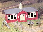 School House w/Playground Accys Snap Kit -- O Scale Model Railroad Building -- #45611