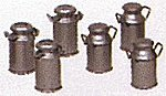 Milk Cans (6) -- G Scale Model Railroad Building Accessory -- #92413
