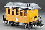 Li'l Big Haulers Coach Short Line RR Yellow/Slver -- G Scale Model Train Passenger Car -- #97097