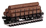 Log Car w/Logs Undecorated -- G Scale Model Train Freight Car -- #98470