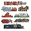 Mega Set Modern ''Tagger'' Graffiti Decals - #1 pkg(8) -- N Scale Model Railroad Decal -- #1244