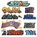 Mega Set Modern ''Tagger'' Graffiti Decals - #2 pkg(9) -- N Scale Model Railroad Decal -- #1245