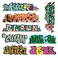 Mega Set Modern ''Tagger'' Graffiti Decals - #5 pkg(8) -- N Scale Model Railroad Decal -- #1248