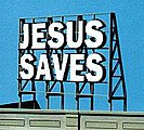 Laser-Cut Wood Billboards Jesus Saves -- HO Scale Model Railroad Roadway Accessory -- #1507