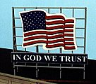 Laser-Cut Wood Billboards Patriotic US Flag -- HO Scale Model Railroad Roadway Accessory -- #1520