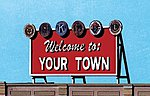 Laser-Cut Wood Billboards Welcome to Yourtown -- HO Scale Model Railroad Roadway Accessory -- #1528