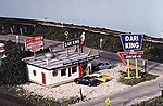 Dari-King Drive In Restaurant Kit -- N Scale Model Railroad Building -- #82